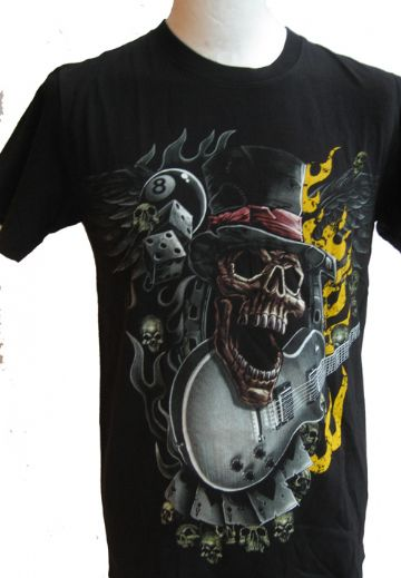 Skull And Guitar ' Glow In The Dark ' T Shirt With Large Colour Back Print
